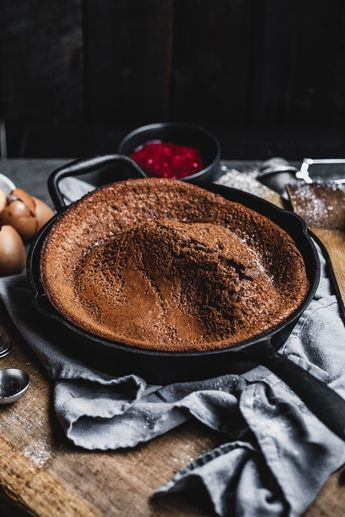 Chocolate Dutch Baby With Homemade Strawberry And ...