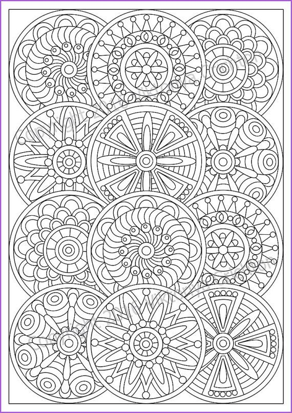 Mandala Coloring page for adult, PDF, doodle (zentangle) art pattern ...