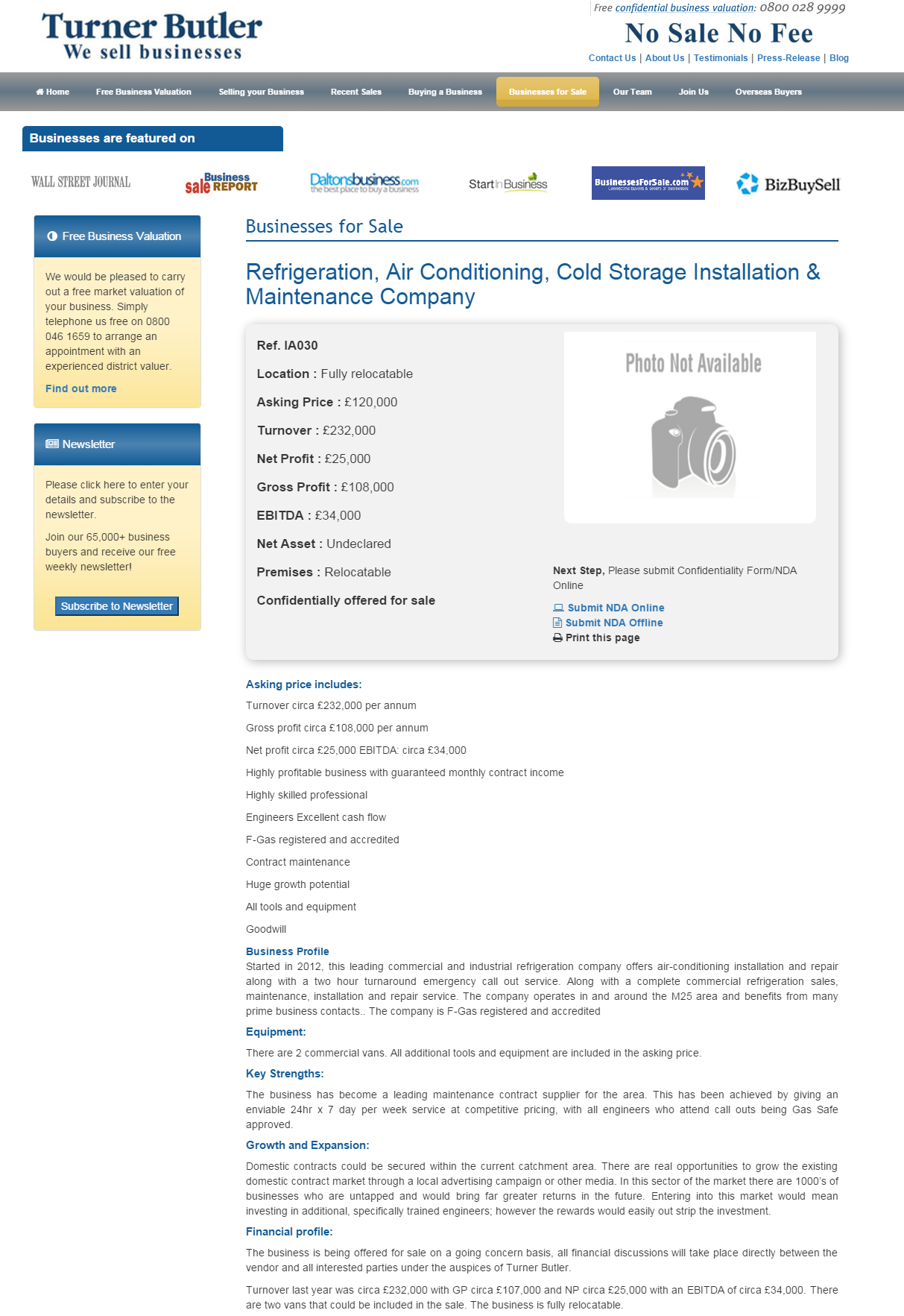Business for sale Refrigeration, Air Conditioning, Cold