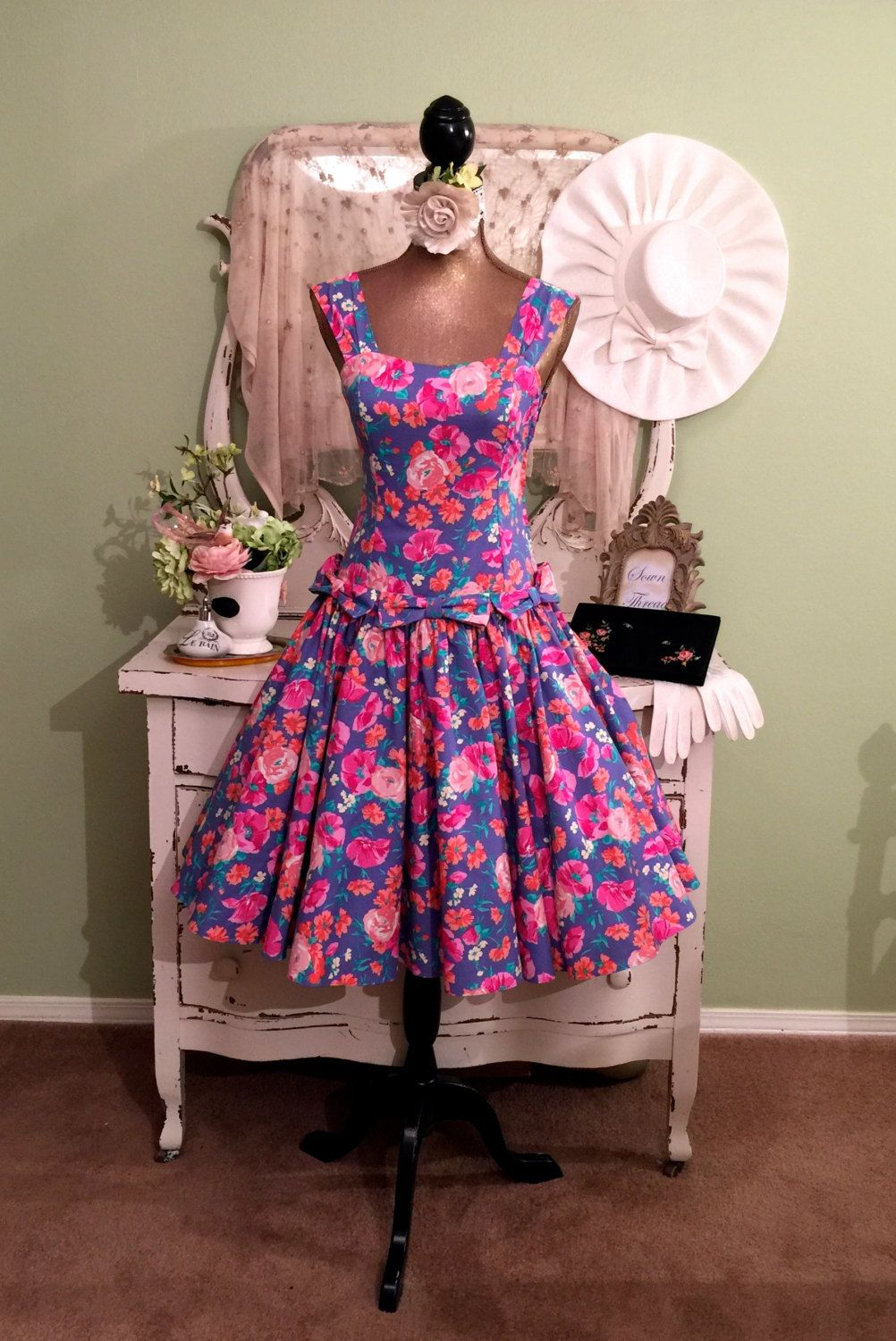 Laura Ashley Dress, Kentucky Derby Dress, Floral Rockabilly, Full ...
