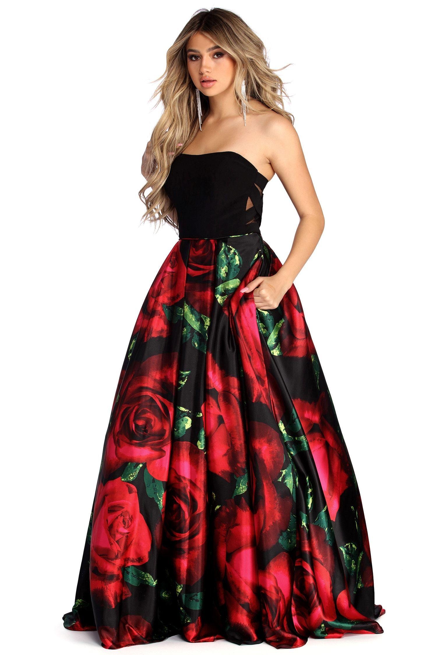 Sariah Black Strapless Rose Ball Gown Dresses Strapless Dress Formal Short Dress Styles [ 2247 x 1500 Pixel ]