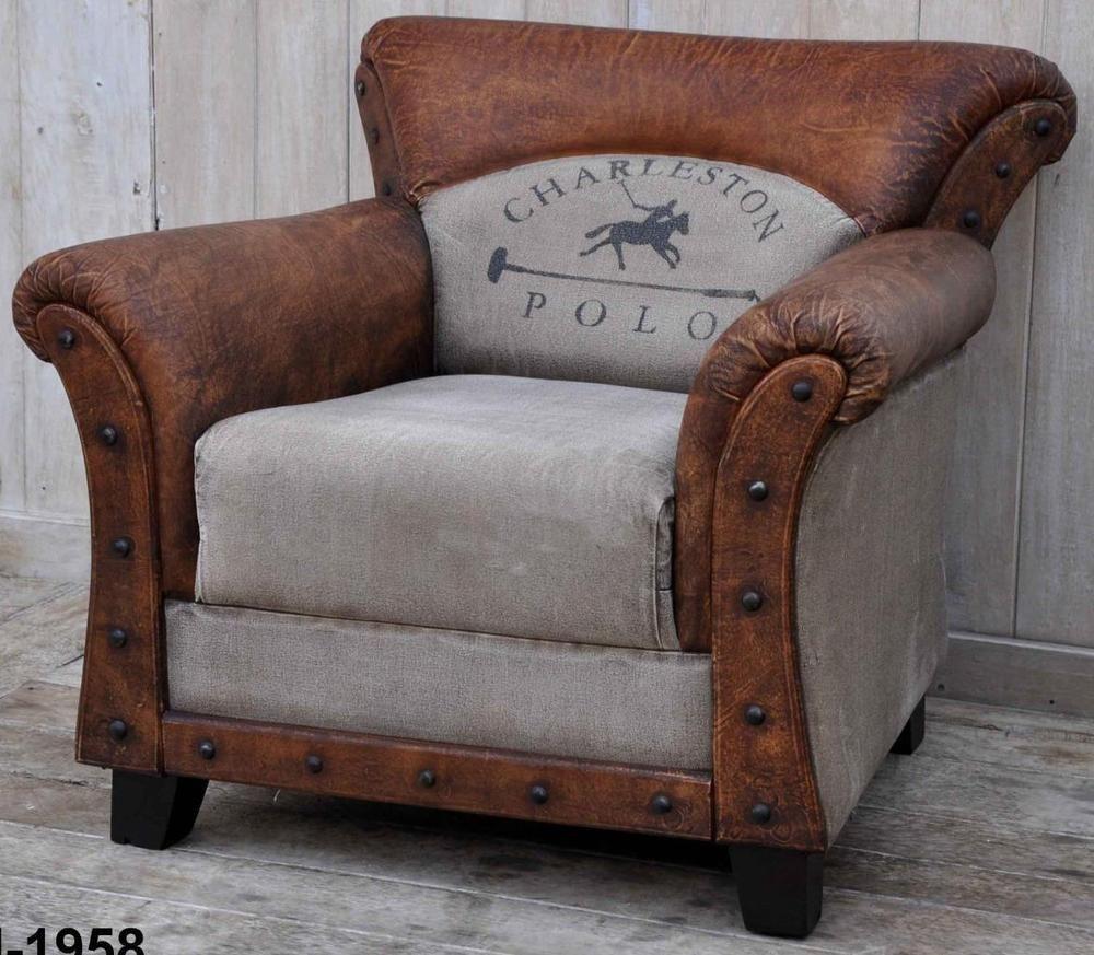 Vintage Style Armchair - Leather & Canvas - Charleston Polo Horse Design -  NEW #BlackbrookInteriors #Vintage - Vintage Style Armchair - Leather & Canvas - Charleston Polo Horse