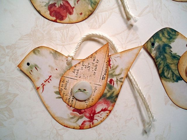 Floral Bird tags by misseskwittys, via Flickr