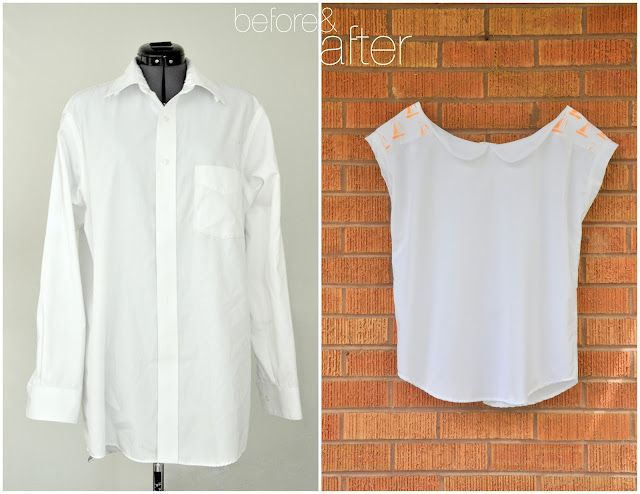 Button Up Refashioned into a Square Tee