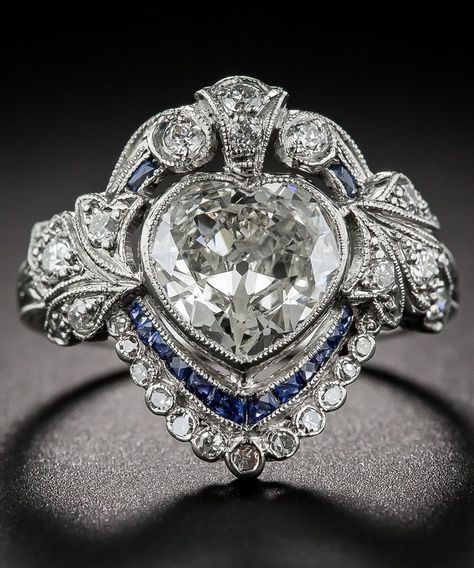 rubies.work/… An Edwardian Heart-Shaped Diamond and Sapphire Ring.