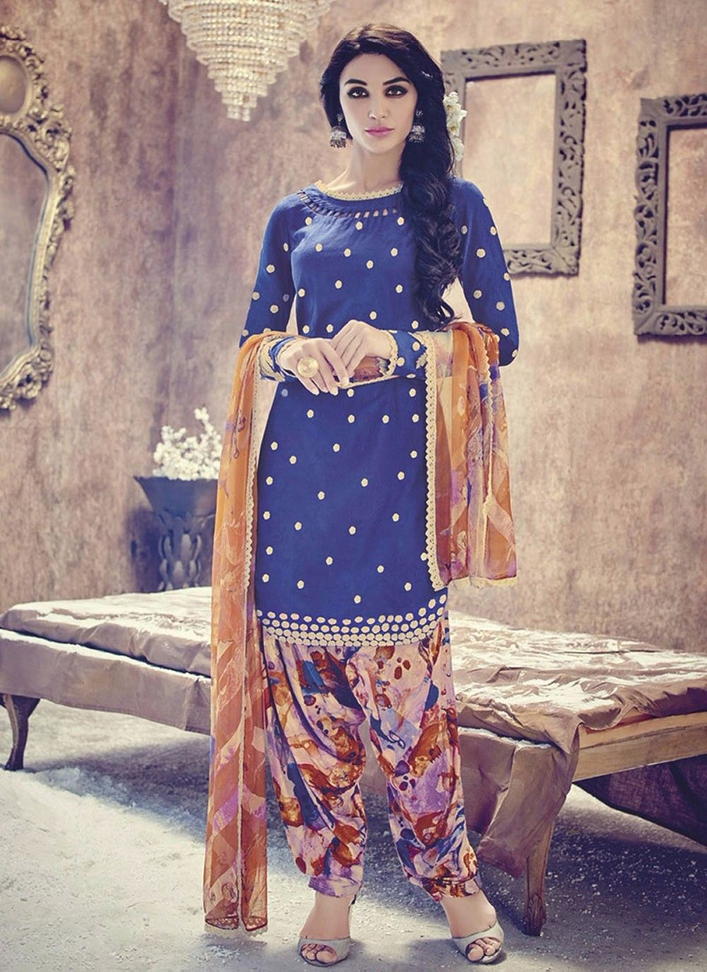 Blue casual wear cotton Punjabi suit with floral Patiala salwar ...