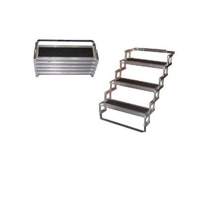 "Camper Steps Trailer Steps Light Weight Aluminum Folding Camper Steps 3 Step 28"" High"