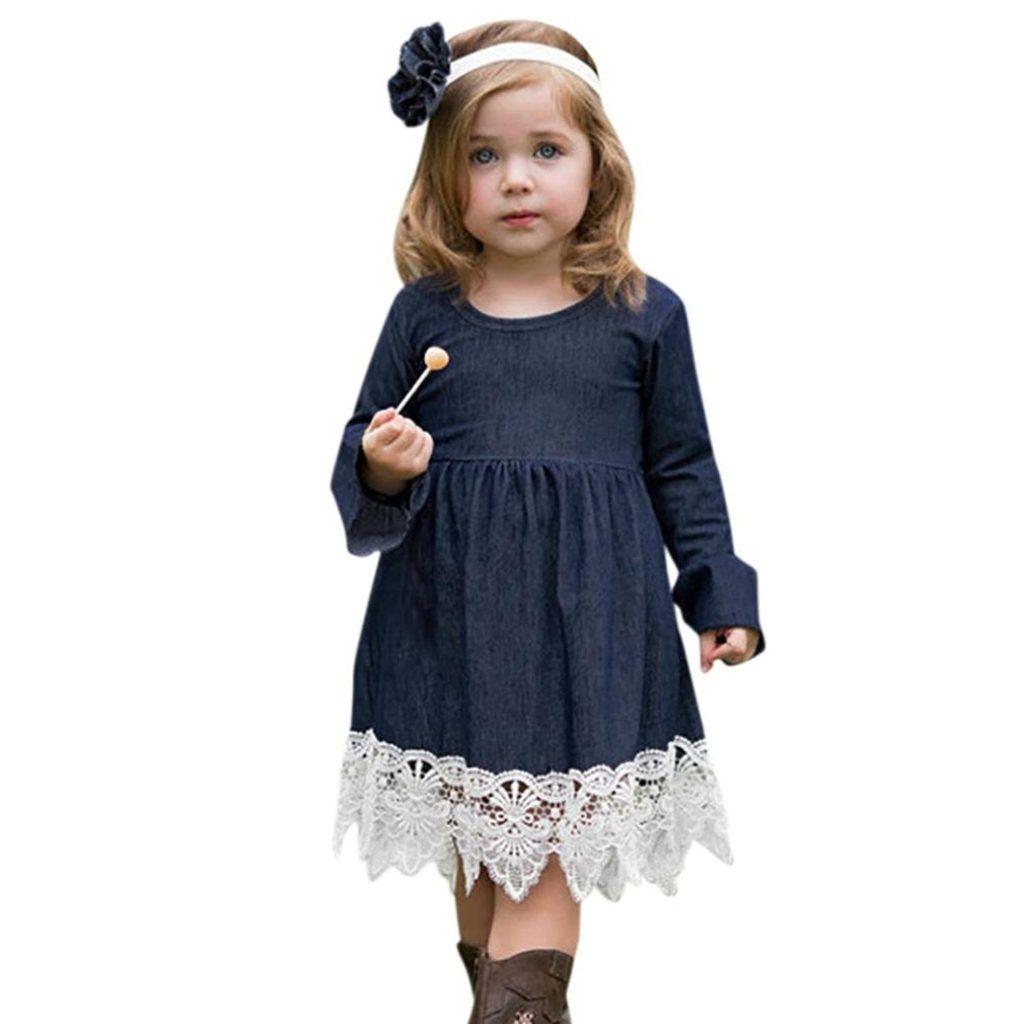 Toddler Infant Baby Girls Denim Dress Flare Sleeve Lace Splice Sundress Stylish