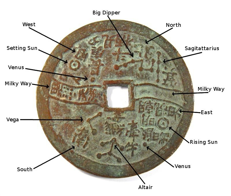 Chinese astronomy coin displaying star constellations ...