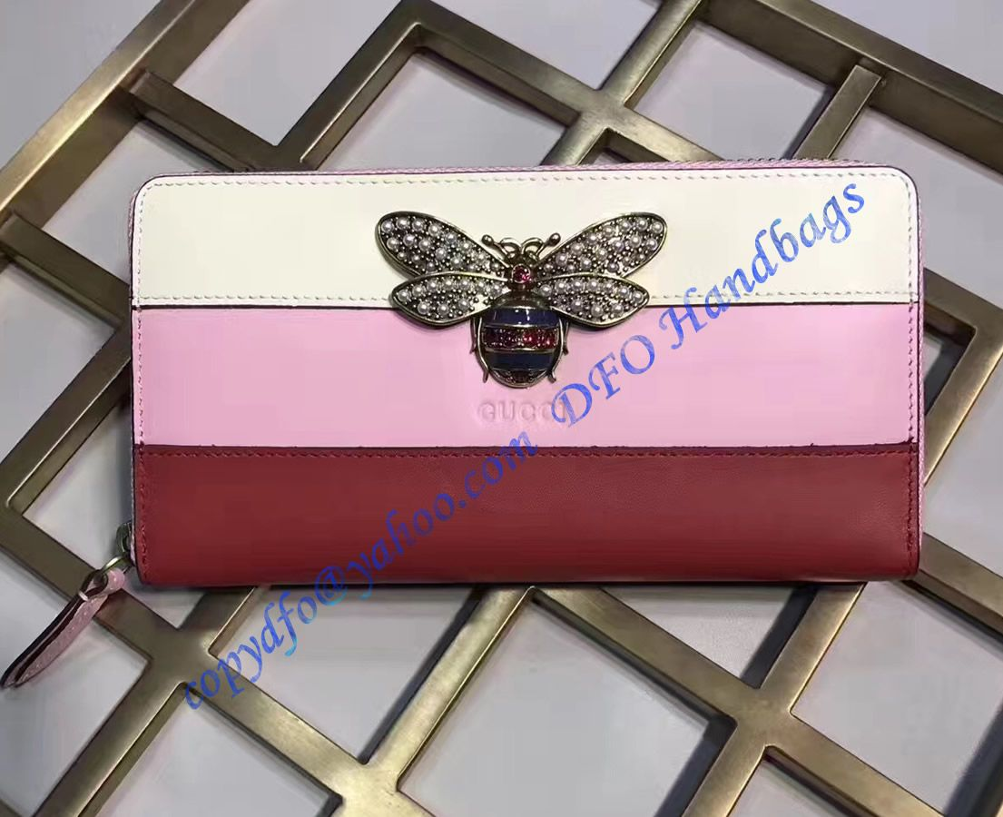 f5615391338 Gucci Queen Margaret White Pink Red Leather Zip Around Wallet in ...