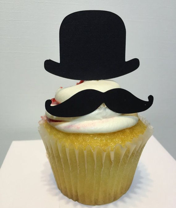 Mustache and Top Hat Cupcake Toppers 12 cupcake toppers