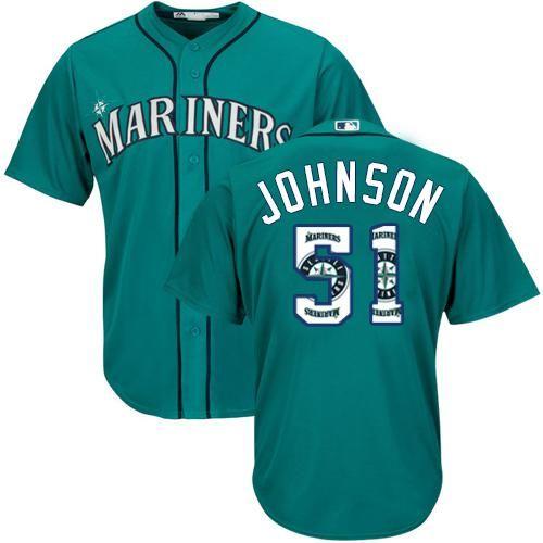 c6e09764af2 Mariners  51 Randy Johnson Green Team Logo Fashion Stitched MLB Jersey