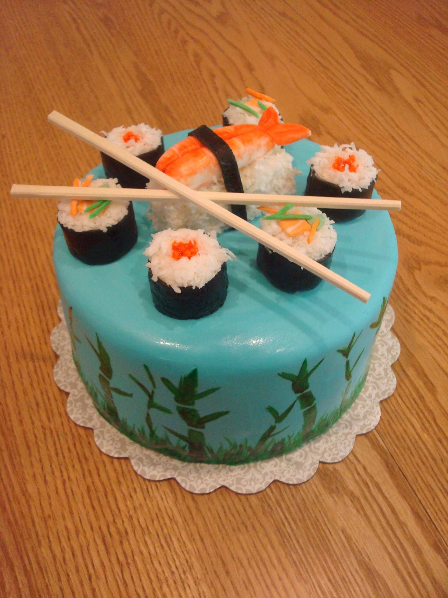 Enjoyable Sushi Birthday Cake With Images Sushi Cake Sushi Cake Birthday Personalised Birthday Cards Veneteletsinfo