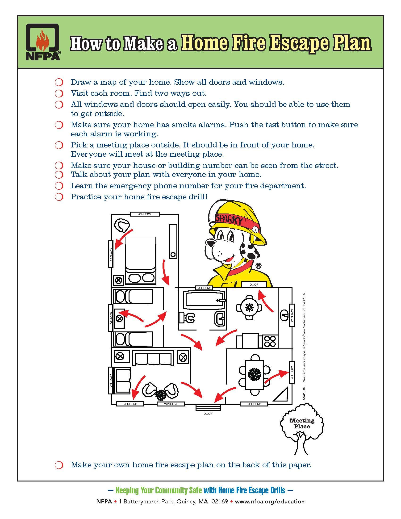 Draw a home fire escape plan your kids practice fire for Fire plans