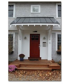 Red Door White House Metal Awning Entry Pinterest Porch