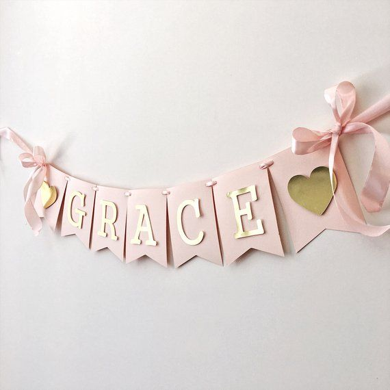 Photo of Personalized Name Banner Girls 1st Birthday Banner Blush Rose Gold Birthday Party Decoration Baby Shower Photo Shoot Prop Custom Baby Banner