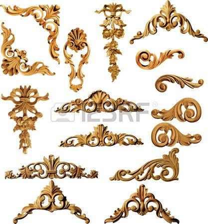 Marcos de cuadros antiguos de oro Conjunto de la vendimia aislado en ...
