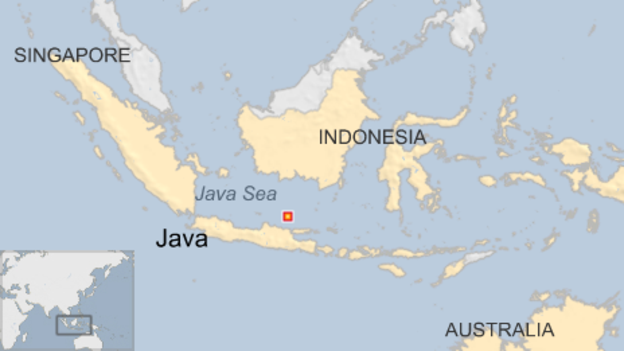 map of indonesia showing location of battle of java sea just north of java