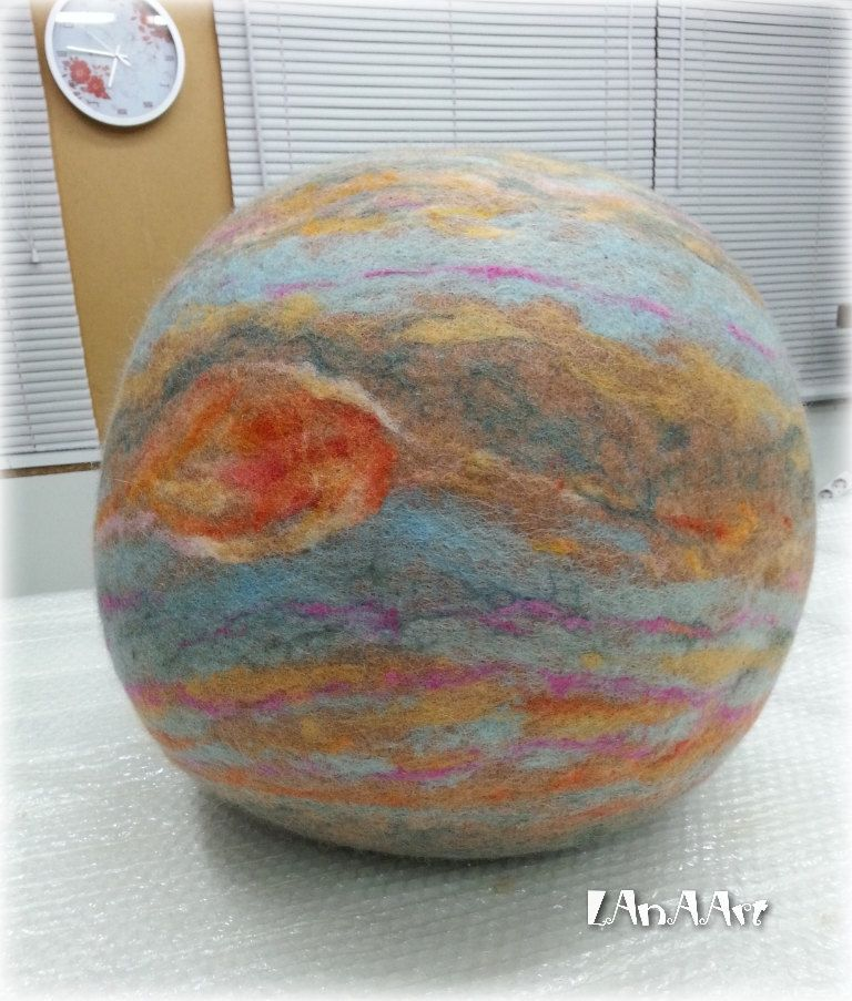 Art Pillow Planet Jupiter Felt Art Large Seamless Pillow Sphere Handmade Textile Art Soft Sculpture Home Decor Unique Cushion Puff