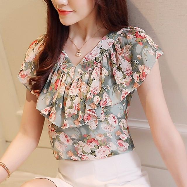 46aebb1a63c48 2018 summer blouses women shirts chiffon fashion plus size floral print women s  tops short sleeve women clothing blusas 0464 30