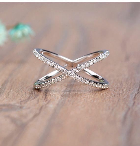 18K White gold criss cross diamond ring Wedding Ring Fashion