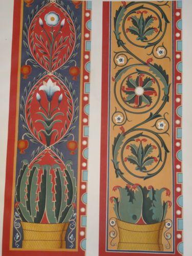 Litho couleur DÉCORATION ARCHITECTURE PEINTURE PAPIER PEINT 1860 - repeindre du papier peint