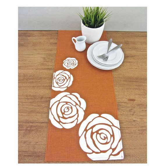 Radiant Roses Table Runner Burnt Orange / White By Celineandkate, $42.00