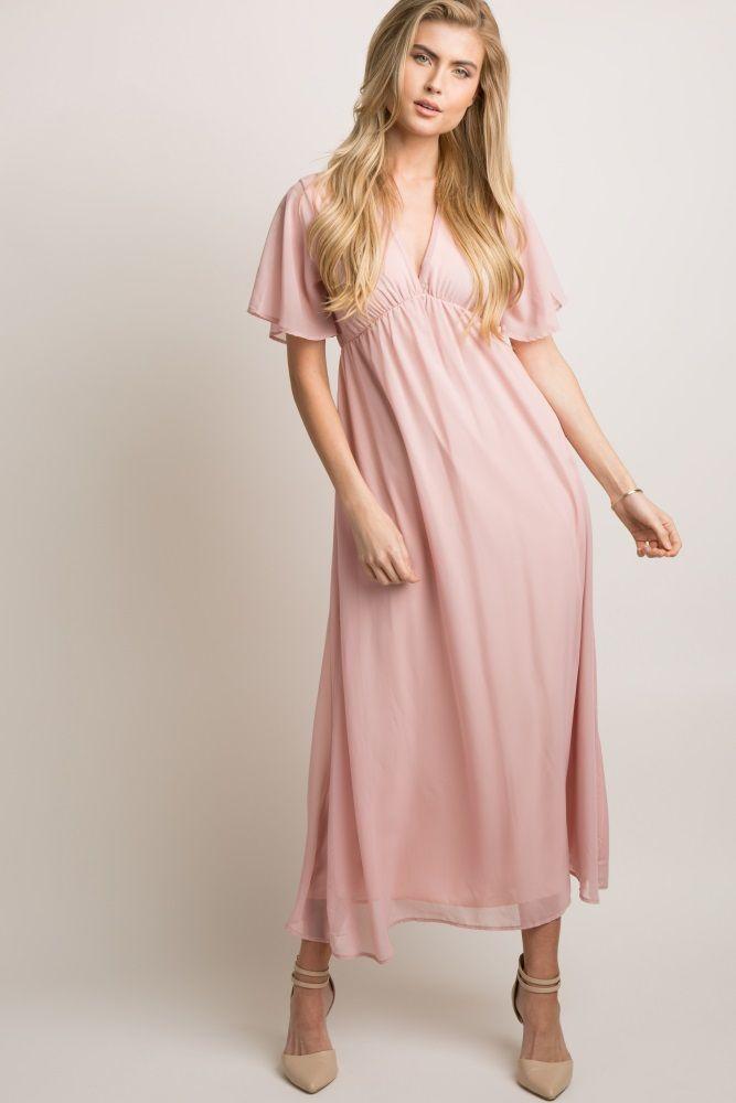 995c49f467 Mauve Chiffon Bell Sleeve Maternity Maxi Dress in 2018