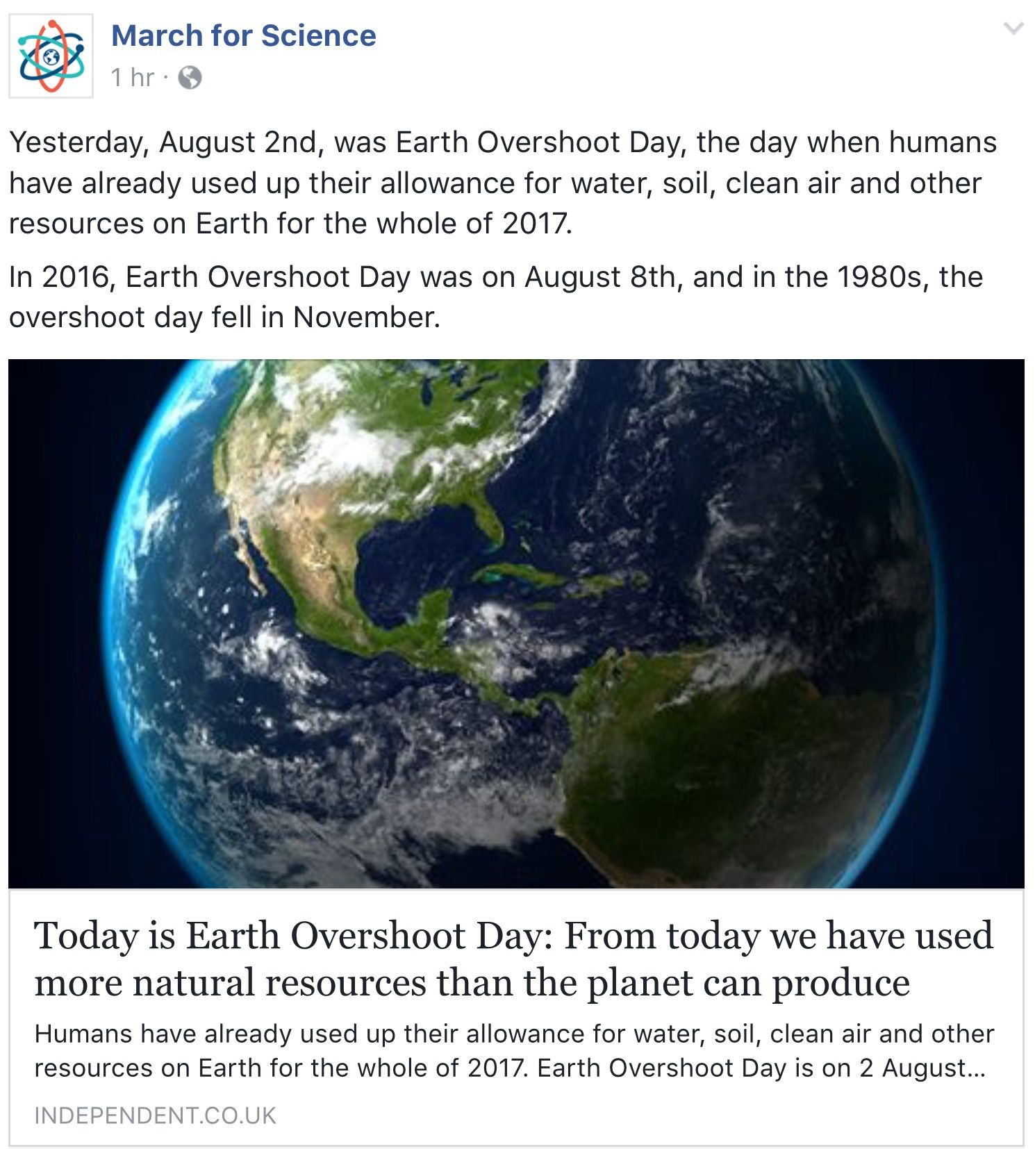 Today is Earth Overshoot Day From today we have used more