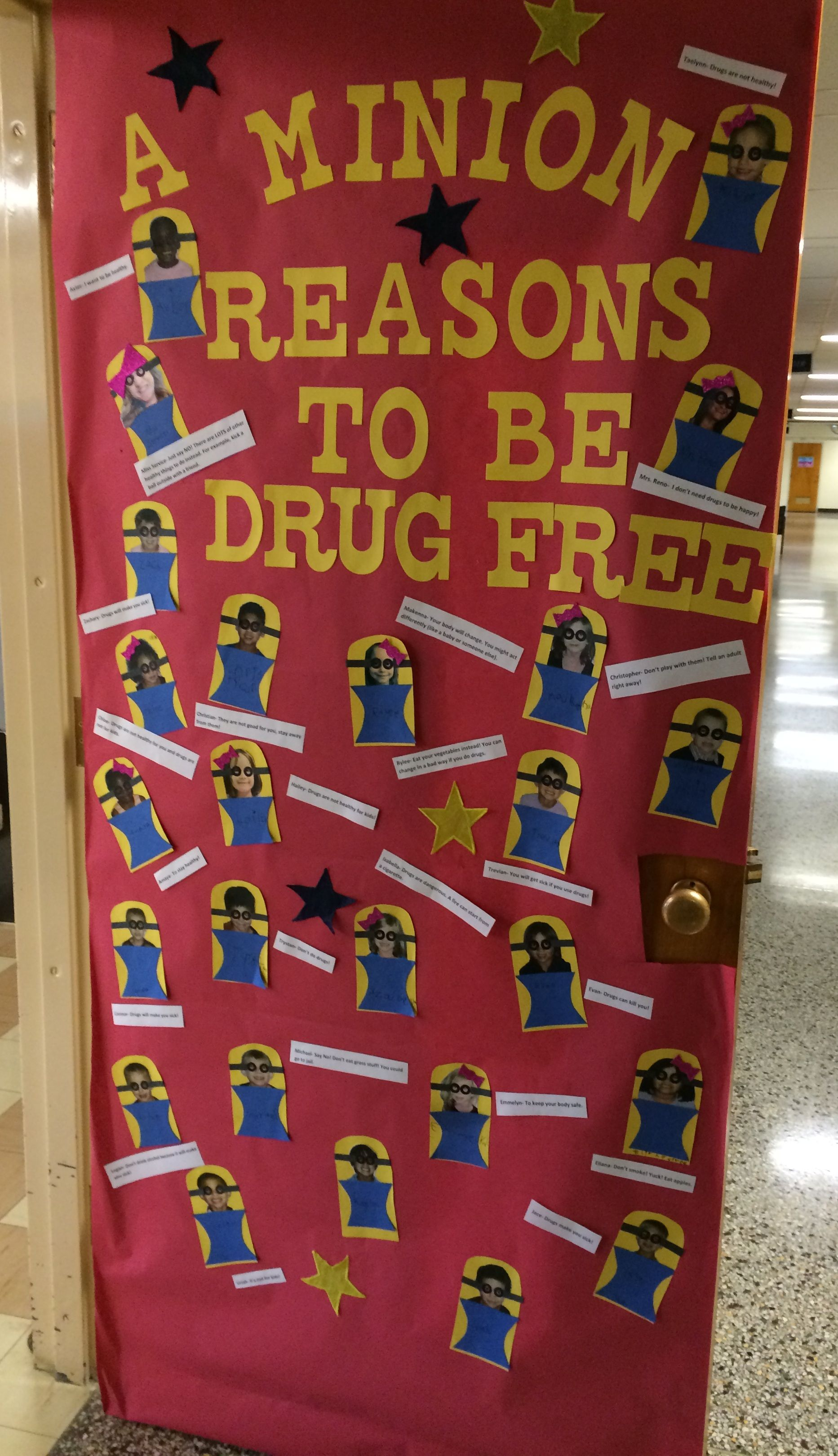 A Minion Reasons To Be Drug Free Red Ribbon Door Decoration Red