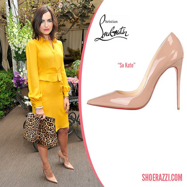 5cebb2d09592 Camilla Belle in Christian Louboutin So Kate Nude Patent Leather ...