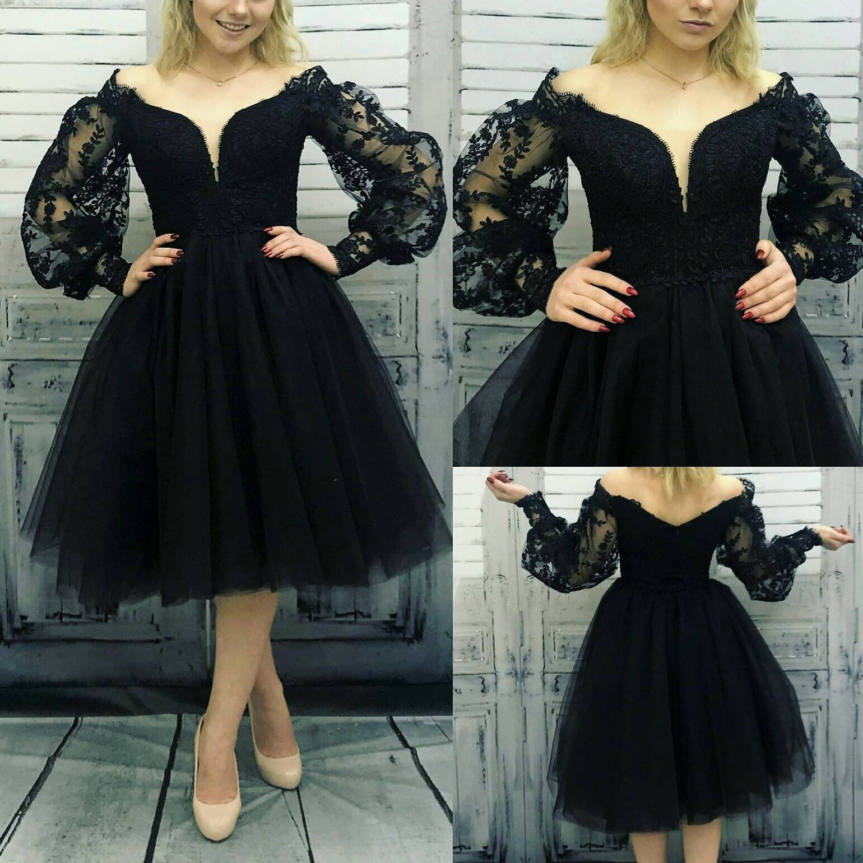 Gothic Black Lace Short Wedding Dress Victorian Black Dress Sheer Sleeves Dress Prom Dresses Long With Sleeves Prom Dresses Short Prom Dresses With Sleeves [ 1540 x 1540 Pixel ]