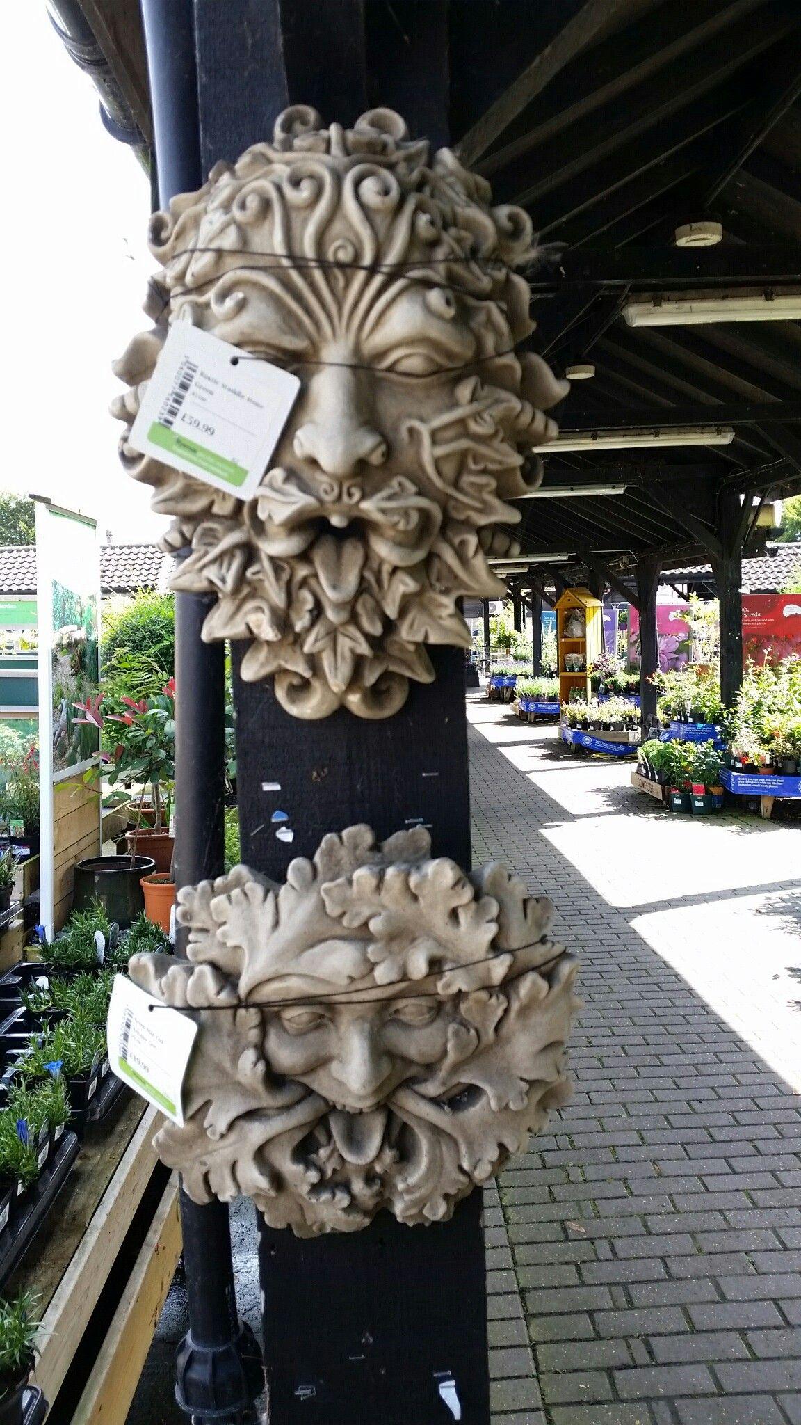 Garden wall ornaments - Green Man Ornaments For Garden Walls In A Garden Centre In Enfield