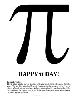 math pi day vocabulary word search science stuff pinterest