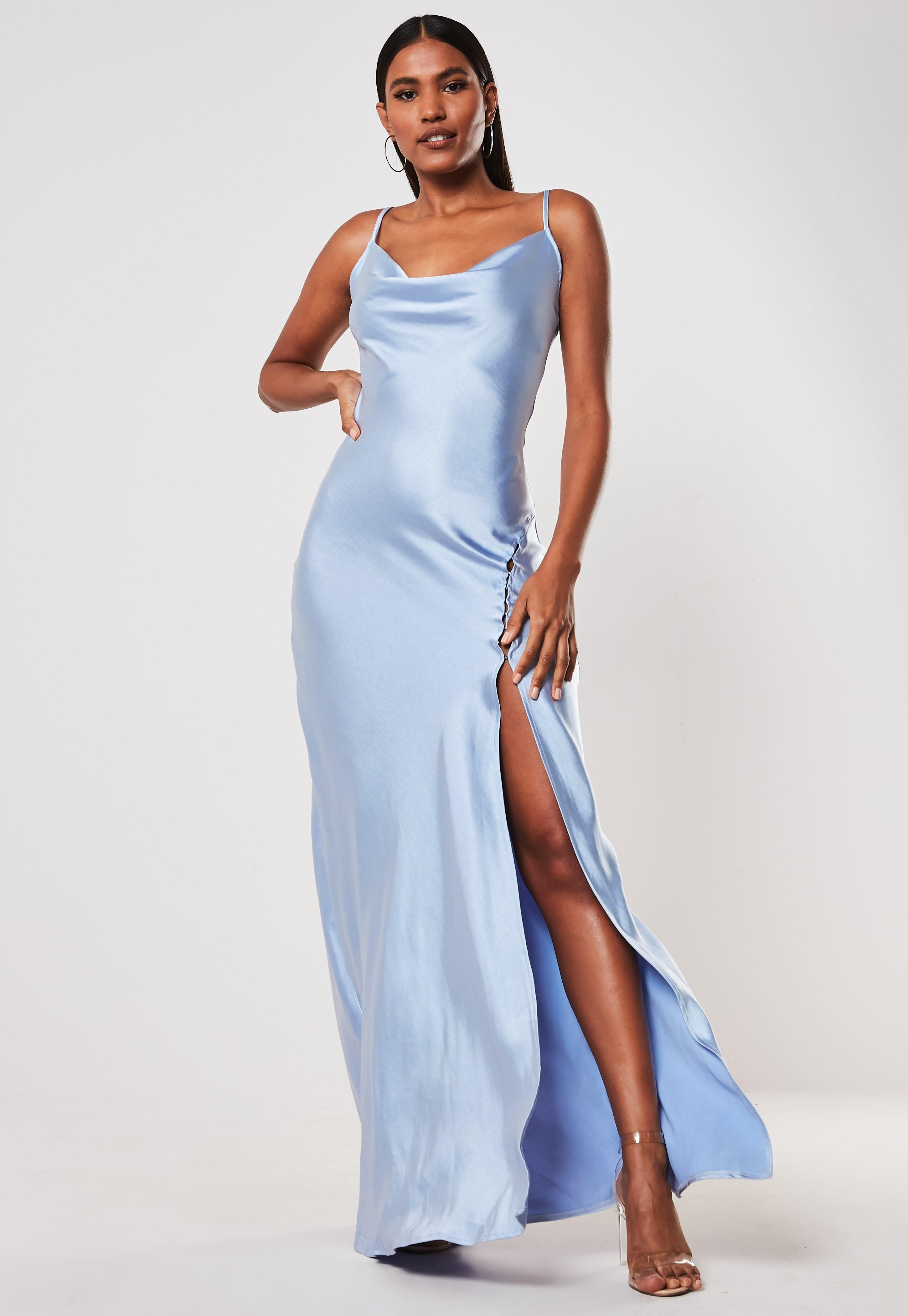 Never Pay Full Price For Blue Satin Cami Cowl Extreme Split Maxi Dress In 2020 Blue Satin Dress Silky Prom Dress Satin Dress Long