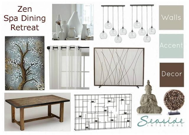 Zen Spa Retreat Living And Dining Room Mood Board 2 Ways