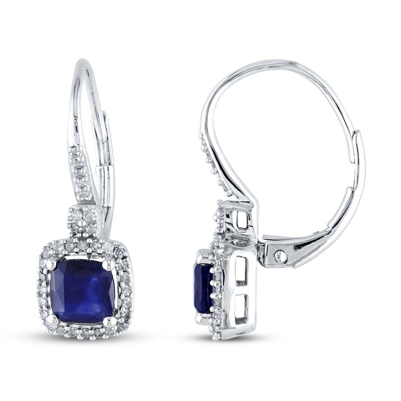 Sapphire Earrings 1 5 Ct Tw Diamonds 10k White Gold Kay Sapphire And Diamond Earrings Sapphire Earrings White Gold