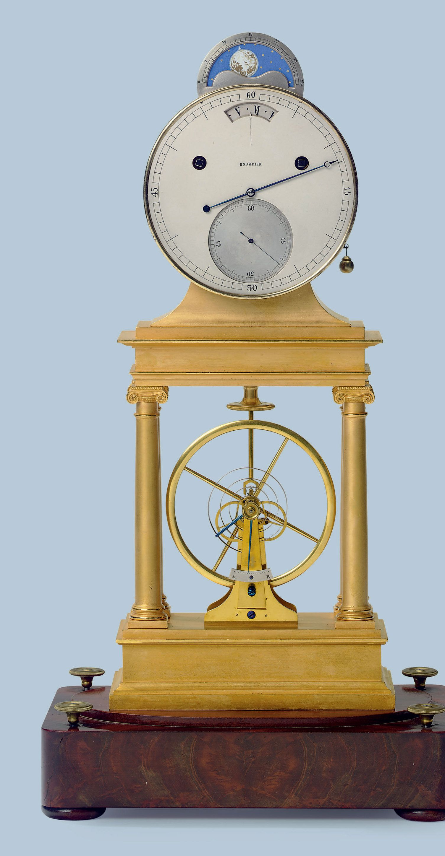 C1815 An Unusual Empire Ormolu Long Duration Portico Mantel Regulator With Moonphase Vertical Balance Wheel Escap Antique Clocks Unusual Clocks Skeleton Clock