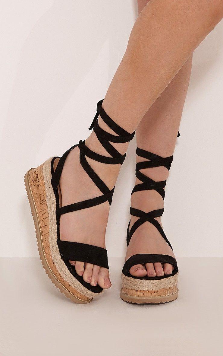 0e82d58d086 Niella Black Espadrille Flatform Sandals