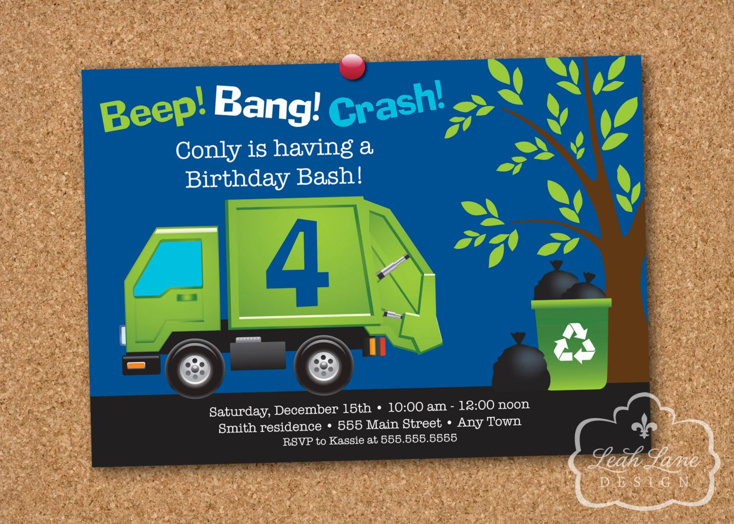 Garbage/Recycle Truck Birthday Party Printable Invitation. $18.00 ...