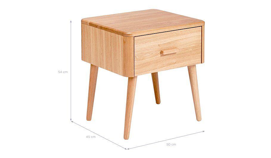 George Home Idris Bedside Table - Oak and Oak Veneer, read reviews ...