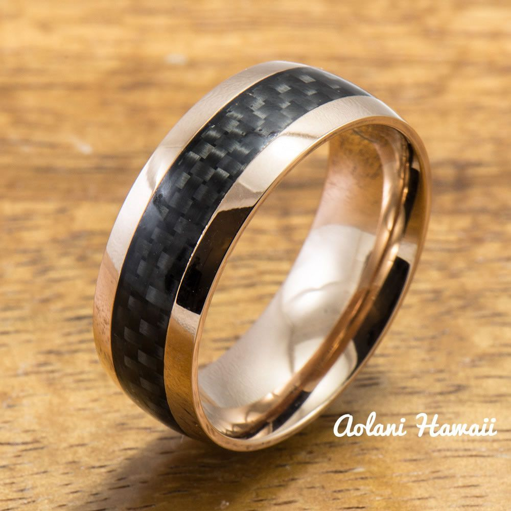 Pink Gold Colored Stainless Steel Ring with Carbon Fiber Inlay (6mm - 8mm width, Barrel Style)