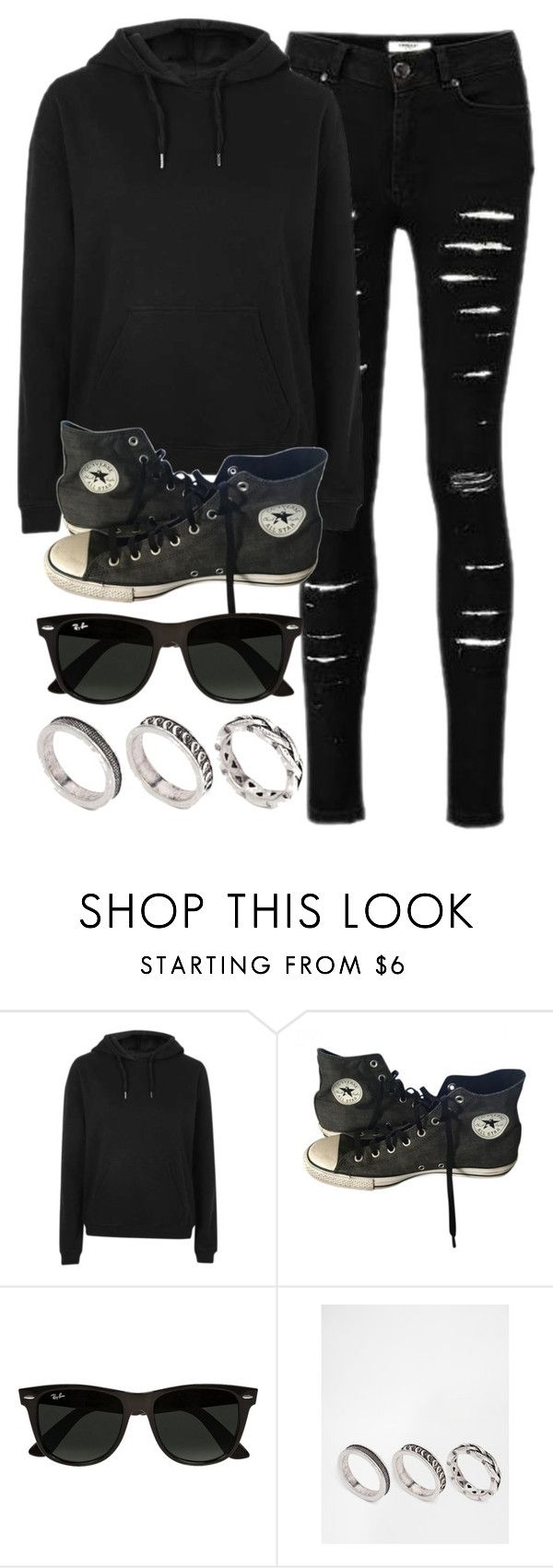 """""""Style #11572"""" by vany-alvarado ❤ liked on Polyvore featuring Topshop, Converse, Ray-Ban and ASOS"""