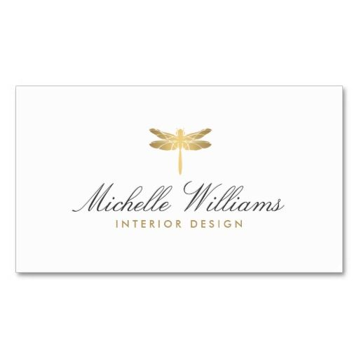 Gold Dragonfly Logo And Customizable Business Card For Interior
