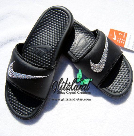 Swarovski Nike Black Benassi Slides / Flip Flops Blinged with SWAROVSKI®  Crystals- Customize With