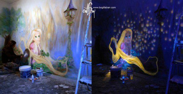 fluoreszierende farbe wandmalerei mit nachtleuchtenden farben kinderzimmer pinterest. Black Bedroom Furniture Sets. Home Design Ideas