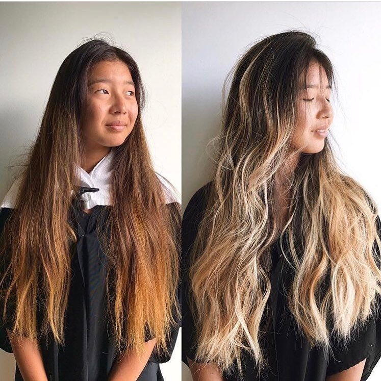 Asian Hair Blonde Balayage Highlights Dark Roots Ombre Long Hairstyles Thick Hair Asian Hair Blonde With Dark Roots Blonde Asian