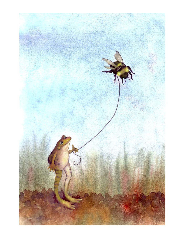 frog u0026 bumblebee print bee and frog art watercolor illustrationt