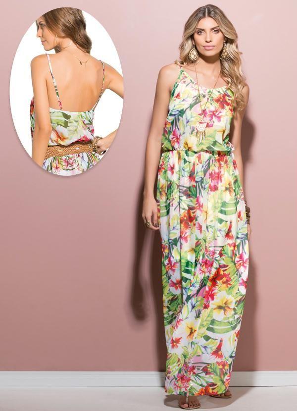 abab66721 Vestido Longo de Alça Estampa Tropical - Posthaus Modelos De Roupas Feminina