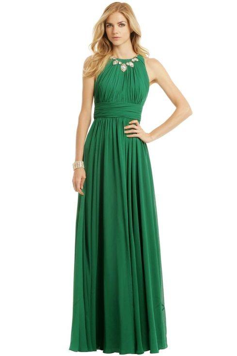 Badgley Mischka Fluorite Emerald Gala Gown | Emerald - New \